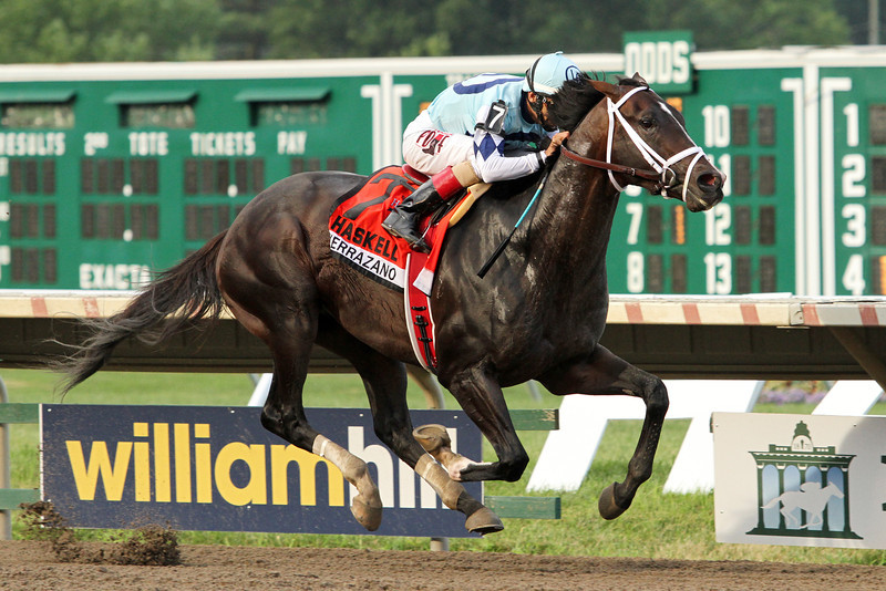 Verrazano (More Than Ready) and jockey John Velazquez win the Haskell Invitational (Gr I) at Monmouth Park 7/28/13. Trainer: Todd Pletcher. Owner: Let's Go Stable