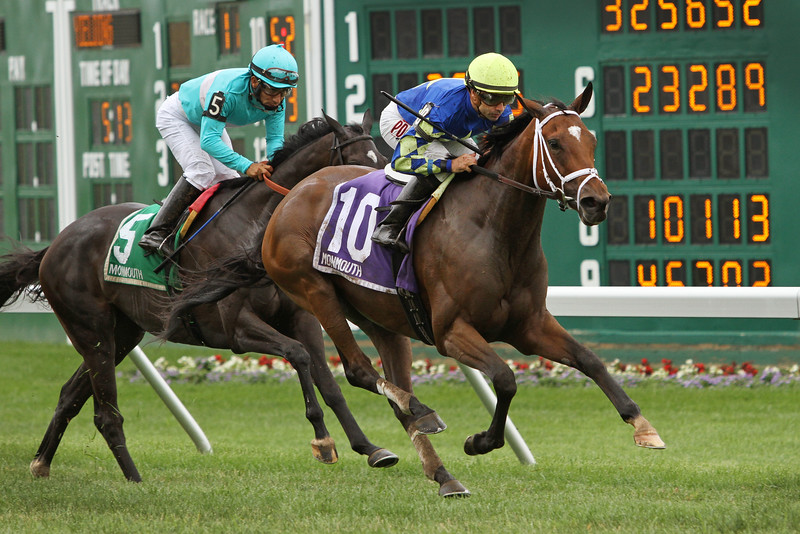 Itsonlyactingdad (Giant's Causeway) and jockey Joe Bravo win the Winstar Matchmaker Stakes (Gr III) at Monmouth Park 7/31/16. Trainer: Todd Pletcher. Owner: Starlight Racing