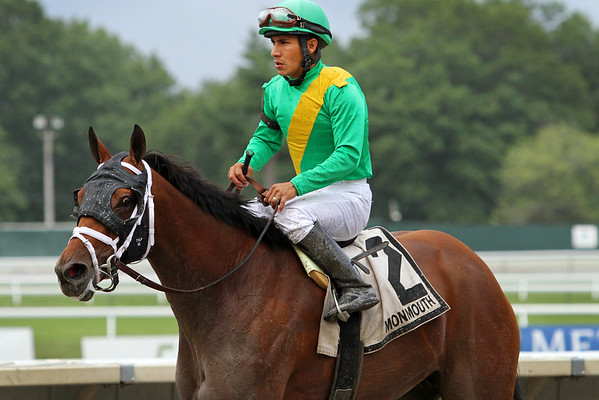 Genre (Bernardini) and jockey Paco Lopez win the Molly Pitcher (Gr III) at Monmouth Park 7/31/16. Trainer: Todd Pletcher. Owner:  Cheyenne Stables LLC