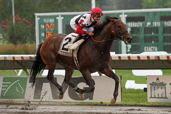 Bradester (Lion Heart) and jockey Joe Bravo win the Monmouth Cup (Gr II) at Monmouth Park 7/31/16. Trainer: Eddie Kenneally. Owner: Joseph W. Sutton