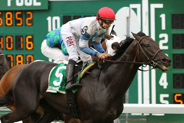 Blacktype (FR) (Dunkerque) and jockey Joe Bravo win the Oceanport Stakes (Gr III)  at Monmouth Park 7/31/16. Trainer: Christophe Clement. Owner: Jump Sucker Stable