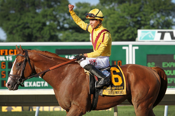 Good Magic (Curlin) and jockey Jose Ortiz win the Haskell Invitational (Gr I) at Monmouth Park 7/29/18. Trainer: Chad Brown. Owner: e Five Racing Thoroughbreds and Stonestreet Stables LLC