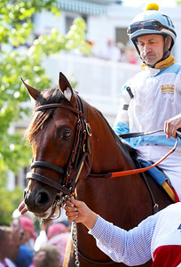 Lone Sailor (Majestic Warrior) and jockey Joe Bravo before the Haskell Invitational (Gr I) at Monmouth Racetrack 7/29/18. Trainer: Tom Amoss. Owner: G M B Racing
