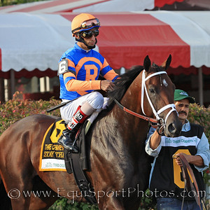 Stay Thirsty (Bernardini) and jockey John Velazquez go to post for the Hopeful Stakes at Saratoga Racecourse 9/6/10 JH.