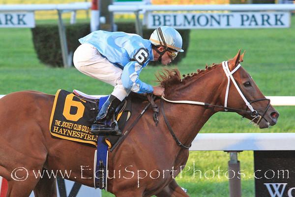 Haynesfield and jockey Garrett Gomez win the Jockey Club Gold Cup at Belmont Park 10/2/10 JH.