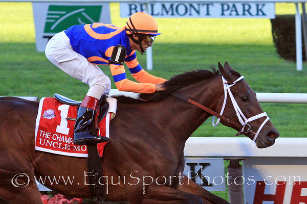 Uncle Mo (Indian Charlie) and jockey John Velazquez win the Champagne Stakes at Belmont Park 10/9/10 JH.