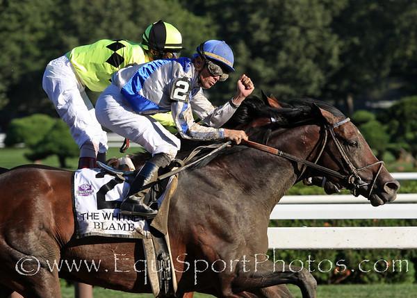 Blame (Arch) and jockey Garrett Gomez win the Whitney Stakes at Saratoga Racecourse 8/7/10 JH.