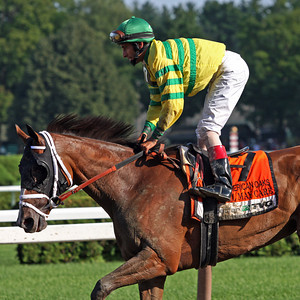 Devil May Care (Malibu Moon) and John Velazquez win the Coaching Club American Oaks at Saratoga Racecourse 7/24/10 JH.