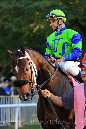 Rail Trip and jockey Cornelio Velasquez go to post for the Jockey Club Gold Cup at Belmont Park 10/2/10 JH.
