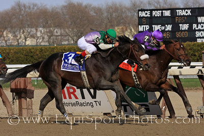 J J's Lucky Train (Silver Train) and jockey Jose Ferrer win the Bay Shore (Gr III) for trainer W.D. Anderson and owner Fresh Start Stable at Aqueduct Racetrack 4/9/11.