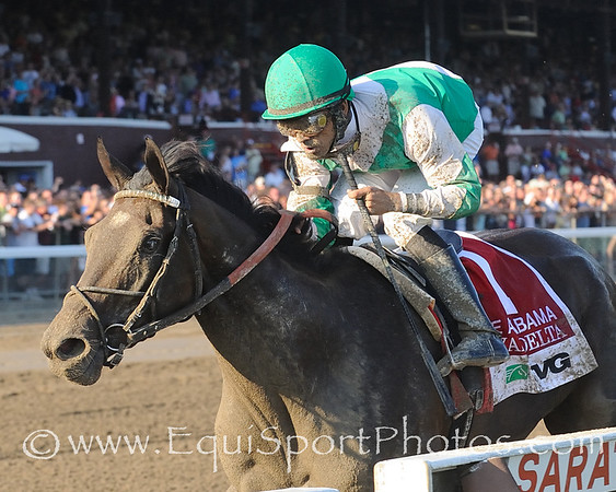 Royal Delta, Jose Lezcano up, wins The Alabama Stakes. Photo credit: Bud Morton/EquiSport Photos.