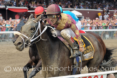Hot Summer,Cornelio Velasquez up, wins The Victory Ride Stakes. Photo credit: Bud Morton/EquiSport Photos.