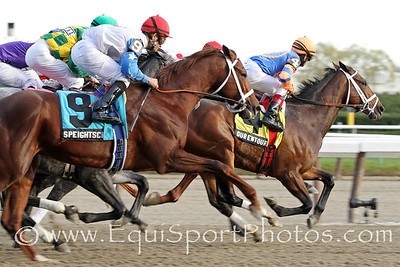Our Entourage (Street Cry) and jockey Cornelio Velasquez lead the Gr II Remsen Stakes at Aqueduct 11/26/11 for trainer Todd Pletcher and owner Repole Stable.