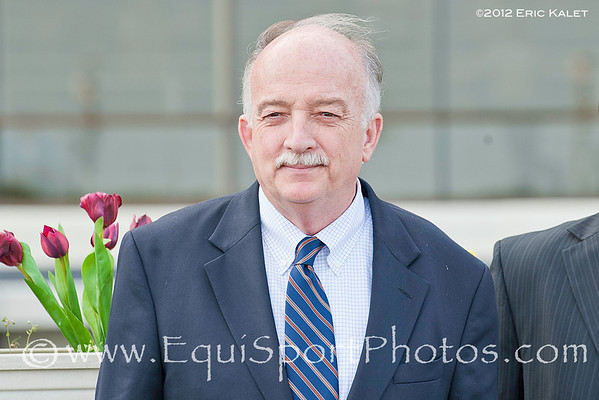 Michael Hushion, trainer of The Lumber Guy (Grand Slam), wins the 2012 Grade II Jerome Stakes at Aqueduct Racetrack.