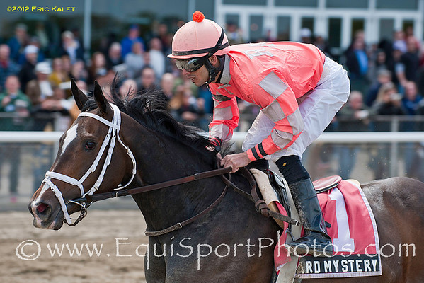 Hard Mystery (Hard Spun), Eddie Castro up, wins the 2012 Inside Information Overnight Stakes.