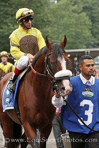 Union Rags (Dixie Union) and jockey John Velazquez before the Belmont Stakes (Gr I) at Belmont Park 6/9/12. Trainer: Michael Matz. Owner: Chadds Ford Stable