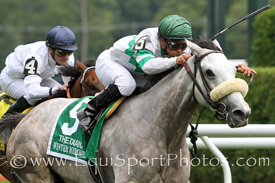 Winter Memories (El Prado) and jockey Javier Castellano win the Diana (Gr I) at Saratoga Racecourse 7/28/12. Trainer: J.J. Toner. Owner: Phillips Racing Partnership