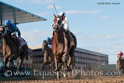 Gemologist (Tiznow), wins the 2012 GI Resorts World Casino New York City Wood Memorial at Aqueduct Racetrack.