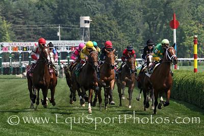 Turf racing at Saratoga Racecourse 8/25/12.