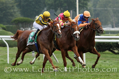Julie's Love (Ad Valorem) and jockey Julien Leparoux win the De La Rose Stakes at Saratoga Racecourse 8/4/12. Trainer: Graham Motion. Owner: Andreas Jacobs