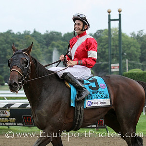 Fort Larned (E Dubai) and jockey Brian Hernandez Jr win the Whitney Invitational (Gr I) at Saratoga Racecourse 8/4/12. Trainer: Ian Wilkes. Owner: Janis Whitham