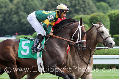 Titletown Five (Tiznow) and jockey Rajiv Maragh before a MSW at Saratoga Racecourse 8/18/12. Trainer: D Wayne Lukas. Owner: Homung, Davis, Martin