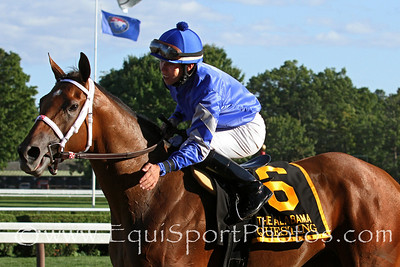 Questing (Hard Spun) and jockey Irad Ortiz Jr win the Alabama (Gr I) at Saratoga Racecourse 8/18/12. Trainer: Kiaran McLaughlin. Owner: Godolphin Stables