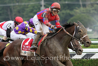 Willy Beamin (Sauve) and jockey Alan Garcia win the the King's Bishop (Gr I) at Saratoga Racecourse 8/25/12. Trainer: Richard Dutrow. Owners: James Riccio
