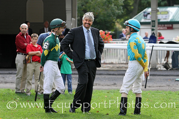 Trainer Steve Asmussen with jockeys Julien Leparoux and Ramon Dominguez before the Vosburgh Invitational (Gr I) at Belmont Park 9/29/12.