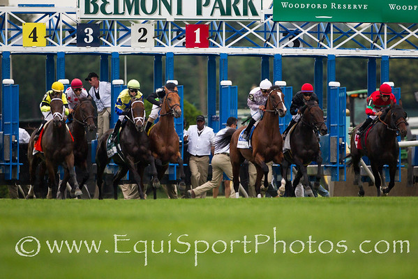Desert Blanc (GB) (#4 black cap) broke slowly and goes on to win the 111th running of The Woodford Reserve Manhattan with Ramon Dominguez aboard.  He is trained by C. C. Brown and owned by Swift Thoroughbreds, Mackie Racing, Vintage Thoroughbreds, LLC. and Bradley Thoroughbreds.