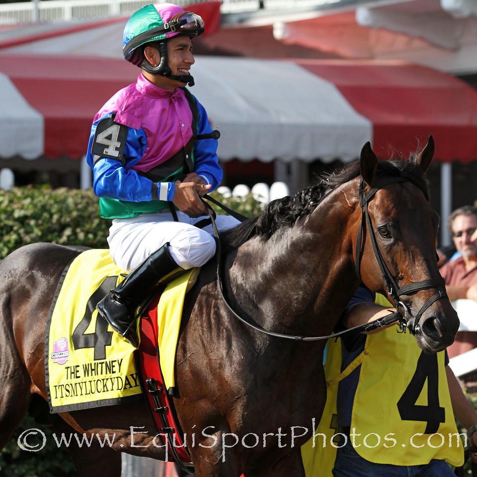 Itsmyluckyday (Lawyer Ron) and jockey Paco Lopez before the Whitney (Gr I) at Saratoga Racecourse 8/2/14. Trainer: Eddie Plesa. Owner: Trilogy Stable & Plesa