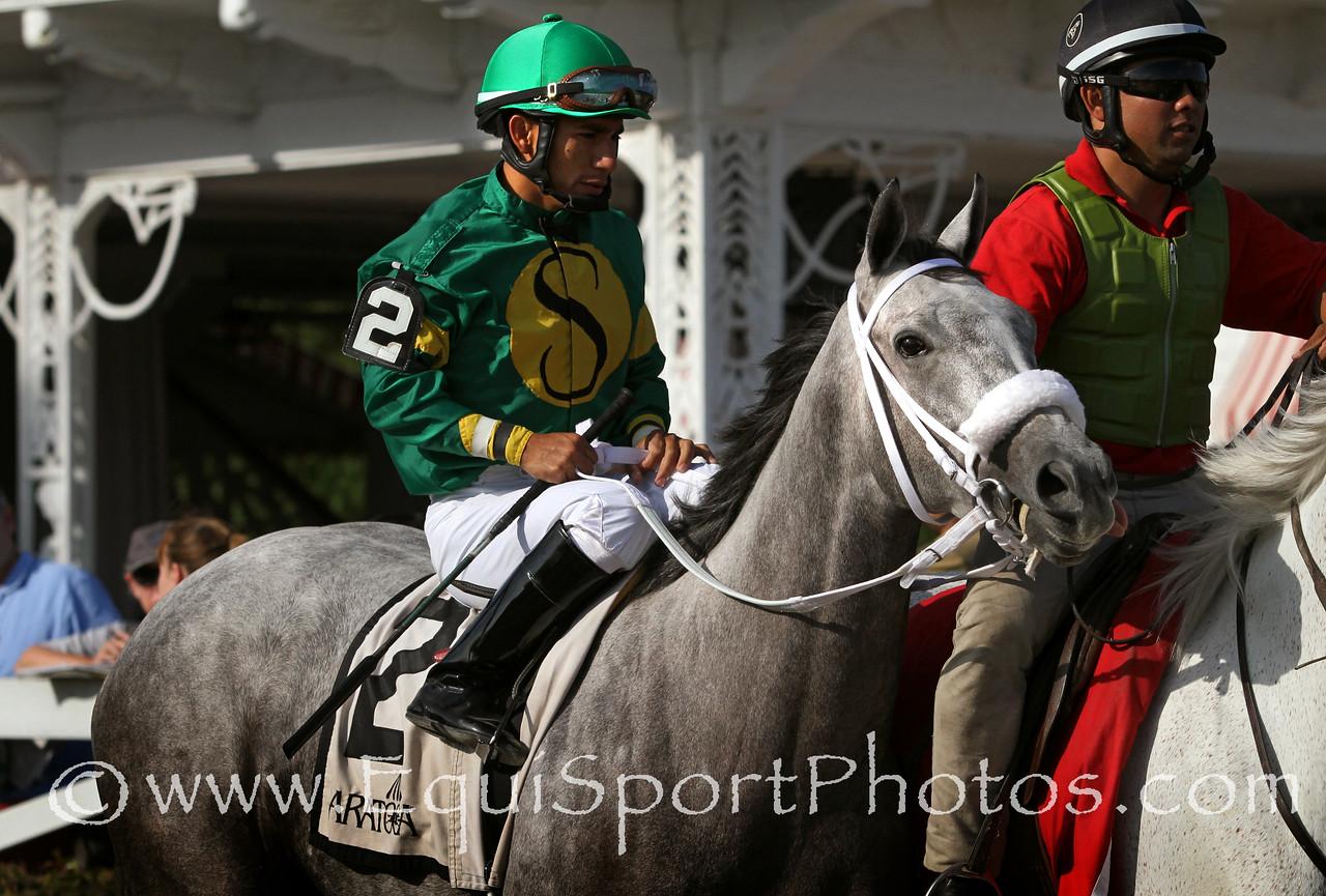 Stonetastic (Mizzen Mast) and jockey Paco Lopez win the Prioress (Gr II) at Saratoga Racecourse 8/30/14. Trainer: Kelly Breen. Owner: Stoneway Farm