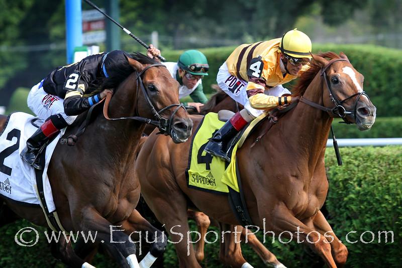 Wise Dan (Wiseman's Ferry) and jockey John Velazquez win the Bernard Baruch (Gr II) at Saratoga Racecourse 8/30/14. Trainer: Charlie LoPresti. Owner: Morton Fink