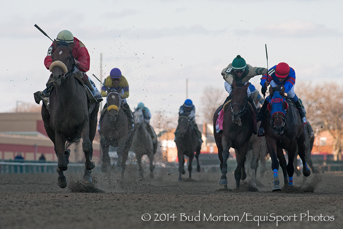 Wicked Strong (Hard Spun) and jockey Rajiv Maragh  win The (Gr.I) Wood Memorial at Aqueduct 04/05/14 Trainer: James A Jerkins  Owner :Centennial Farms.  Bud Morton/ Equisport Photo