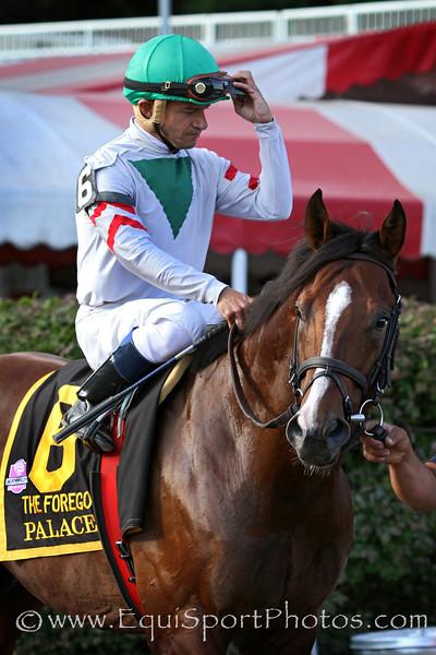 Palace (City Zip) and jockey Cornelio Velasquez win the Forego (Gr I) at Saratoga Racecourse 8/30/14. Trainer: Linda Rice. Owner: Antonino Miuccio