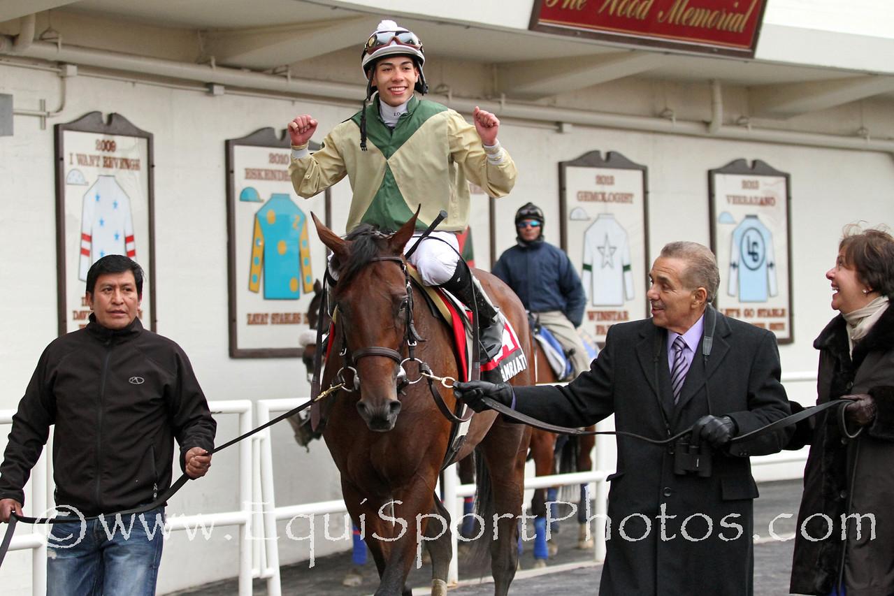 Samraat (Noble Causeway) and jockey Jose Ortiz win the Gotham (Gr III) at Aqueduct Racetrack 3/1/14. Trainer: Rick Violette. Owner: My Meadowview Farms