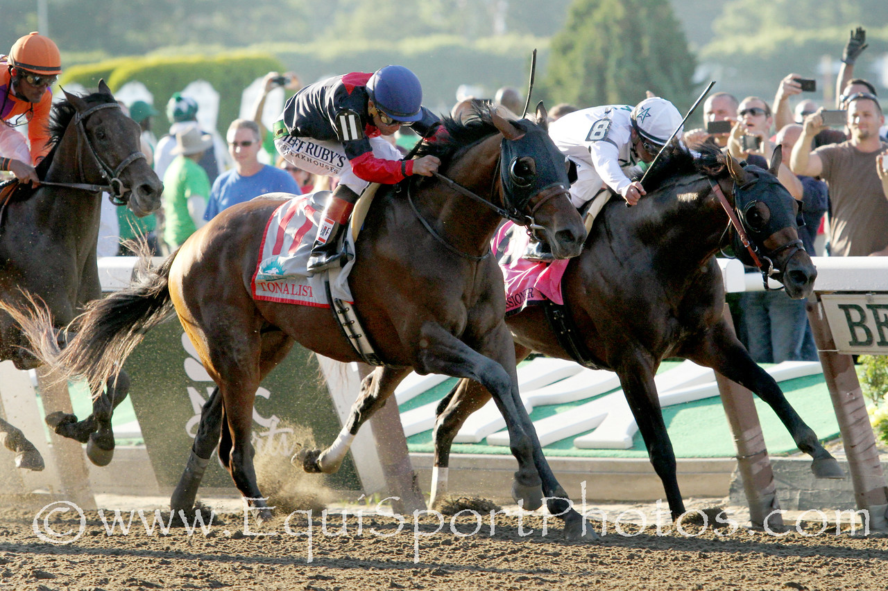 Tonalist (Tapit) and jockey Joel Rosario win the Belmont Stakes (Gr I) at Belmont Park 6/7/14. Trainer: Christophe Clement. Owner: Robert S. Evans