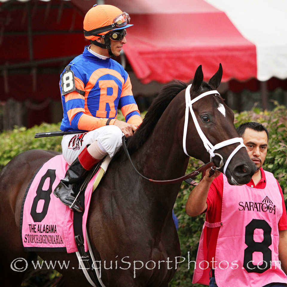 Stopchargingmaria (Tale of the Cat) and jockey John Velazquez win the Alabama (Gr I) at Saratoga Racecourse 8/16/14. Trainer: Todd Pletcher. Owner: Repole Stable