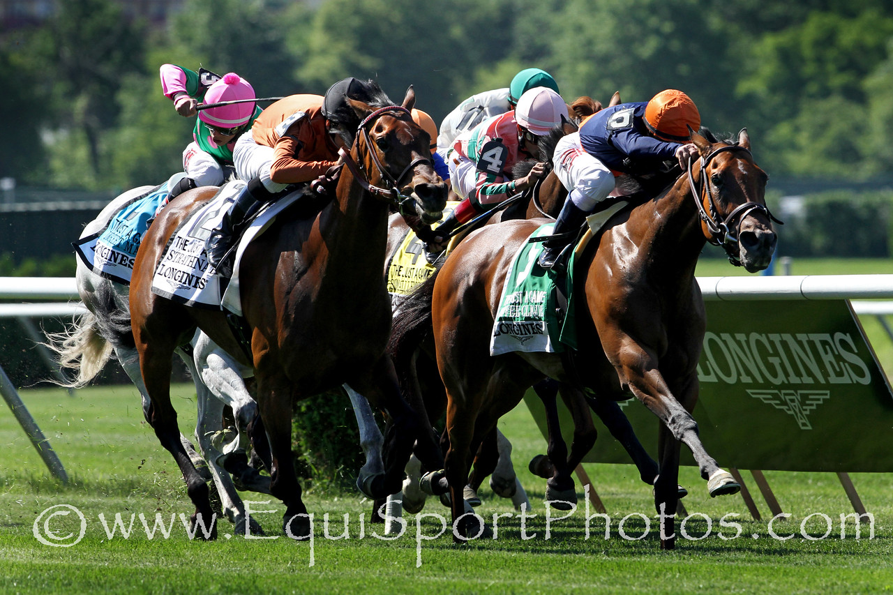 Coffee Clique (Medaglia d'Oro) and jockey Javier Castellano win the Just a Game (Gr I) at Belmont Park 6/7/14. Trainer: Brian Lynch. Owner: Amerman Racing