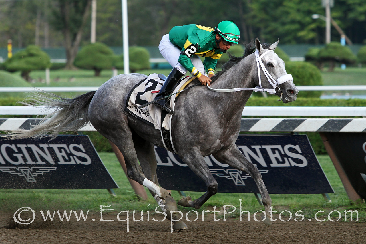 Stonetastic (Mizzen Mast) and jockey Paco Lopez win the Prioress (Gr II) at Saratoga Racecourse 8/30/14. Trainer: Kelly Breen. Owner: Stoneway Farm