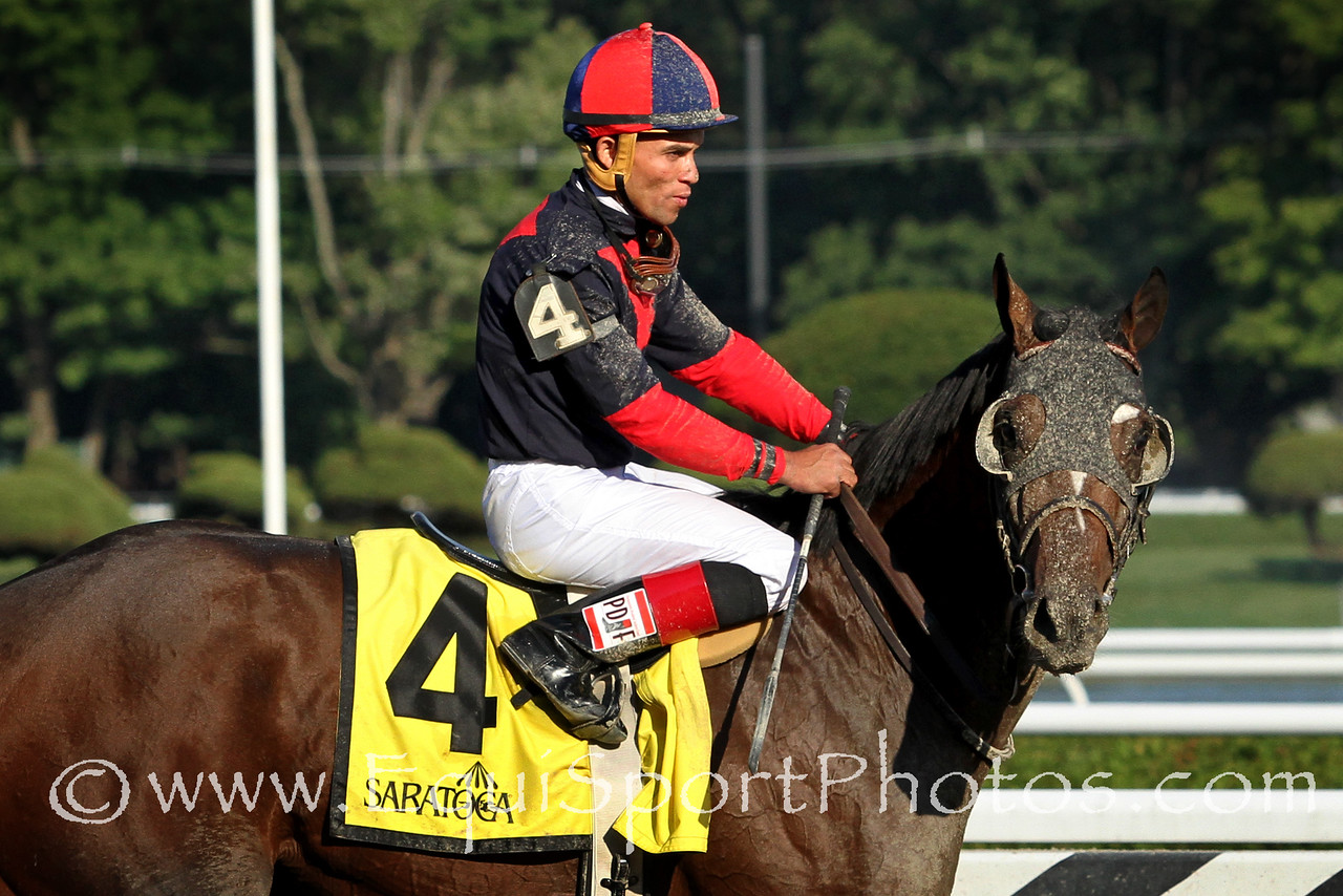 Tonalist (Tapit) and jockey Joel Rosario after the Jim Dandy (Gr II) at Saratoga Racecourse 7/26/14. Trainer: Christophe Clement. Owner: Robert Evans