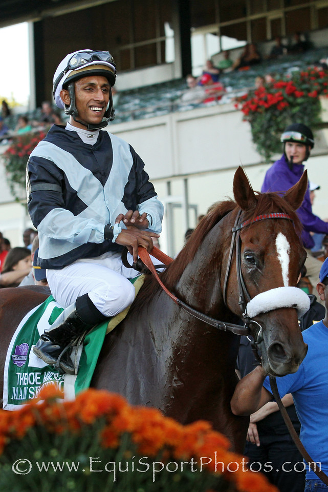 Main Sequence (Aldebaran) and jockey Ravij Maragh win the Joe Hirsch Turf Classic (Gr I) at Belmont Park 9/27/14. Trainer: Graham Motion. Owner: Flaxman Stable