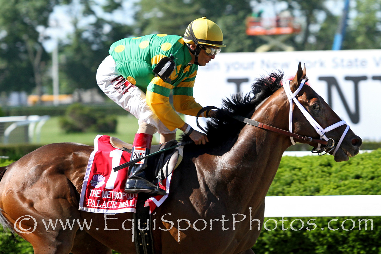 Palace Malice (Curlin) and jockey John Velazquez win the Metropolitan Mile (Gr I) at Belmont Park 6/7/14. Trainer: Todd Pletcher. Owner: Dogwood Stable