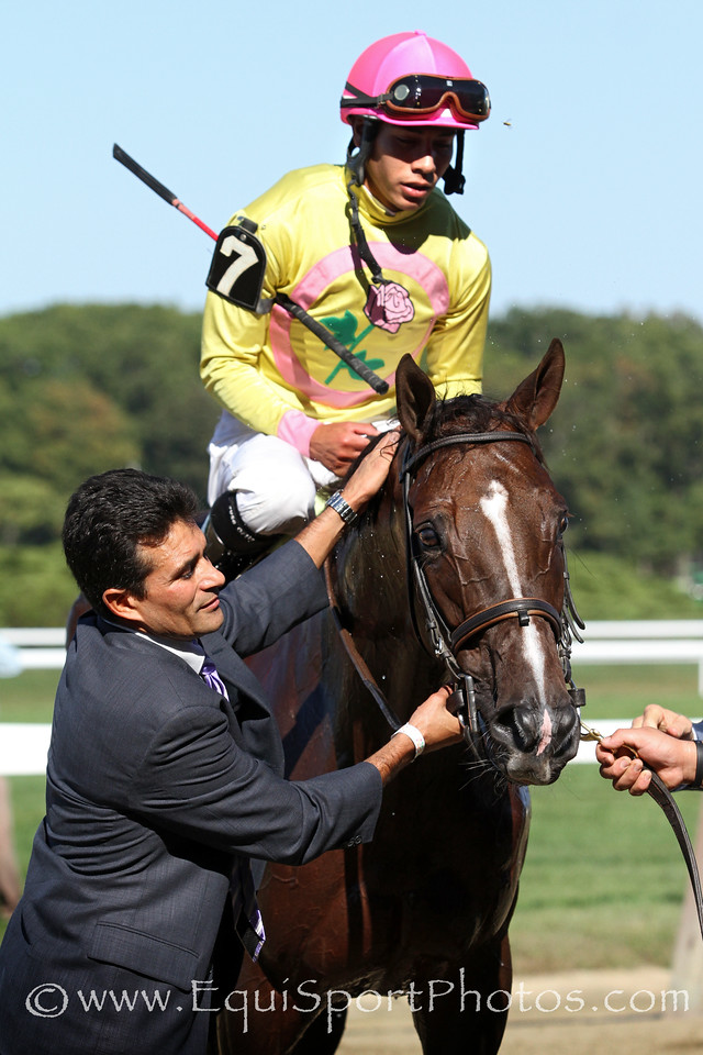 Belle Gallantey (After Market) and jockey Jose Ortiz win the Beldam (Gr I) at Belmont Park 9/27/14. Trainer: Rudy Rodriguez. Owner: Gary Aisquith & Michael Dubb & Bethlehem Stables LLC