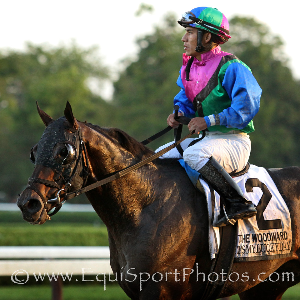 Itsmyluckyday (Lawyer Ron) and jockey Paco Lopez win the Woodward (Gr I) at Saratoga Racecourse 8/30/14. Trainer: Eddie Plesa. Owner: Trilogy Stable & Plesa