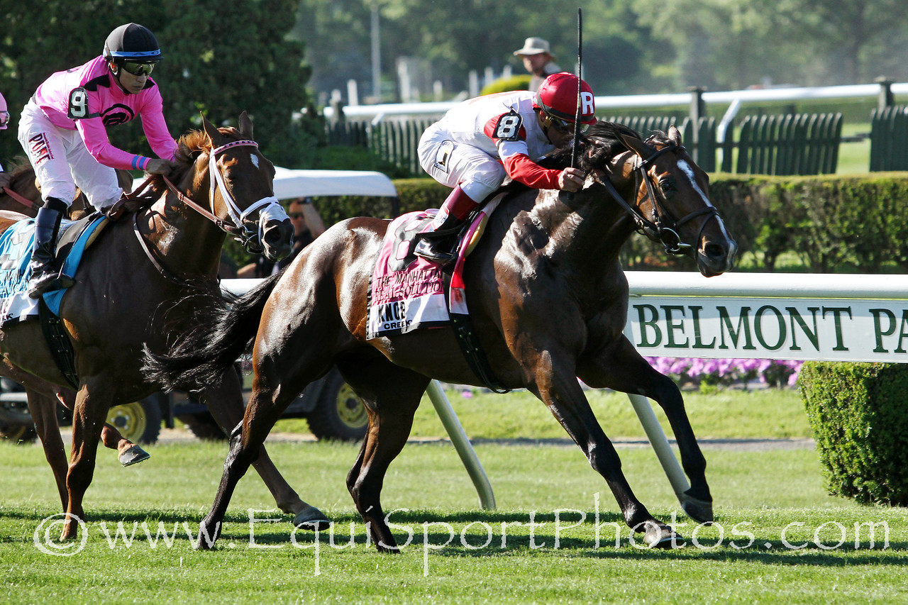 Real Solution (Kitten's Joy) and jockey Javier Castellano win the Knob Creek Manhattan (Gr I) at Belmont Park 6/7/14. Trainer: Chad Brown. Owner: Kenneth & Sarah Ramsey