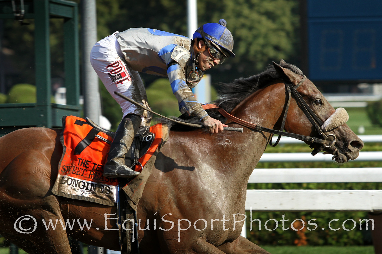 Sweet Reason (Street Sense) and jockey Irad Ortiz Jr. win the Test (Gr I) at Saratoga Racecourse 8/2/14. Trainer: Leah Gyarmati. Owner: Treadway Racing Stable