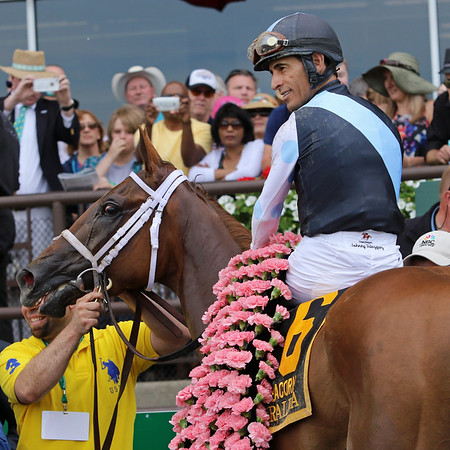 Curalina (Curlin) and jockey John Velazquez win the Acorn (Gr I) at Belmont Park 6/6/15. Trainer: Todd Pletcher. Owner: Eclipse Thoroughbred Partners
