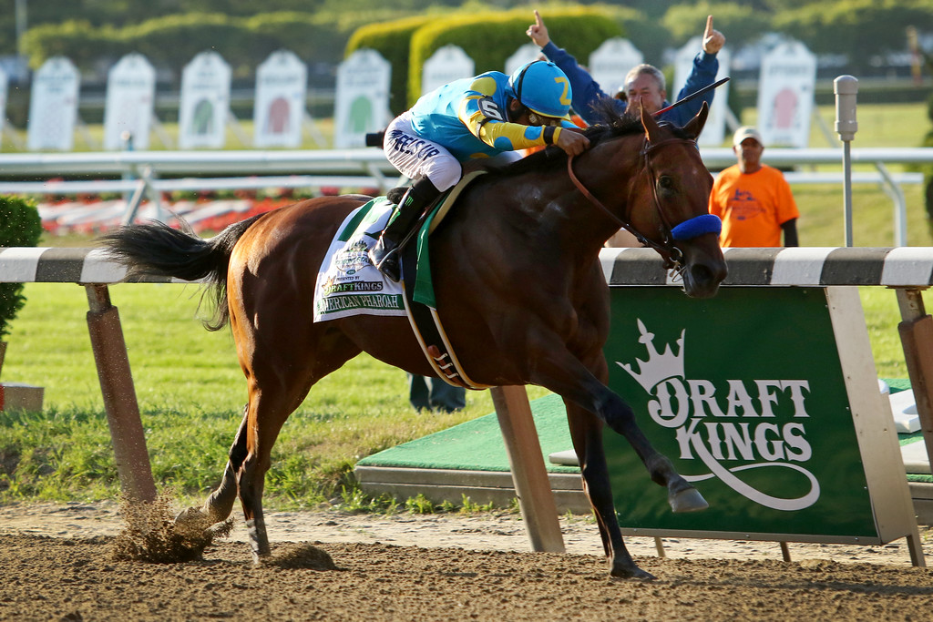 American Pharoah wins the Belmont Stakes (Gr I) and the Triple Crown at Belmont Park.