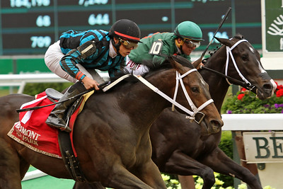 Cocked and Loaded (Colonel John) and jockey Irad Ortiz Jr win the Tremont at Belmont Park 6/5/15. Trainer: Larry Rivelli Owner: Richard Ravin